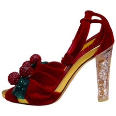 Yves Saint Laurent red velvet evening pumps
