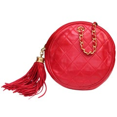 Chanel small red quilted leather evening bag, 1990s