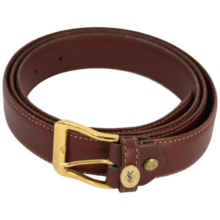 Yves Saint Laurent brown belt vintage gold plated bucke 130 cm x 3 cm 1980s