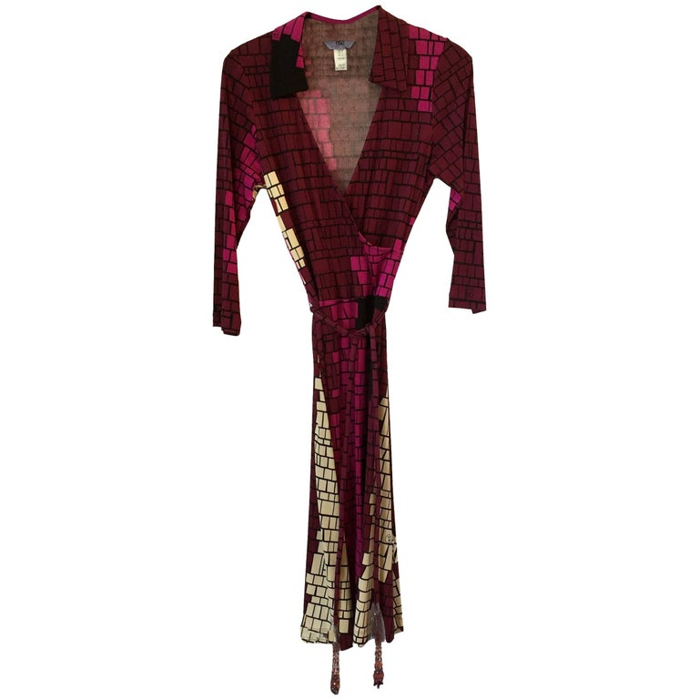 Flora Kung Purple Plum Silk Jersey Catherine Wrap Dress
