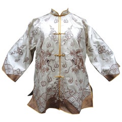 1940's Chinese Cream Silk Mandarin Jacket with Gold Couched Hand Embroidery