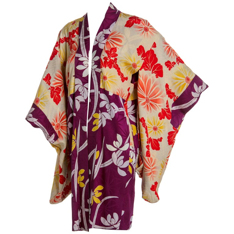 f9fd5272e 1940s Japanese Colorful Floral Printed Silk Kimono Jacket For Sale ...