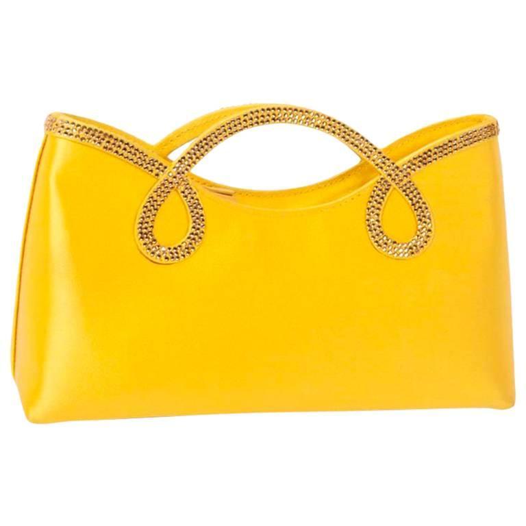 WALTER STEIGER Mini Cocktail Bag in Lemon Yellow Silk and Rhinestones For Sale