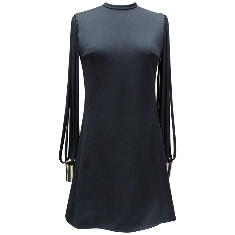 """Pierre Cardin attributed little black dress with """"couture"""" long sleeves, 1970s"""