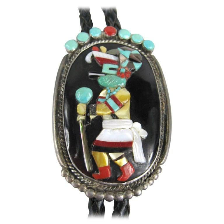 1970s Sterling SIlver Native American Turquoise & Coral Zuni Dancer Bolo Tie
