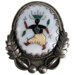 Native American Zuni L.H. Lonjose Sterling Silver Pearl Inlay Brooch / Pendant