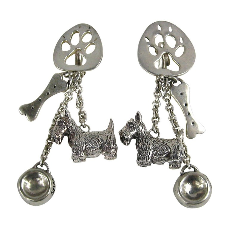 7a5590b2f Sterling Silver Susan Cummings Dog Bone Dish Dangle earrings New, Never  WORN For Sale