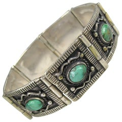 Native American Pawn Turquoise Panel Sterling Silver Bracelet