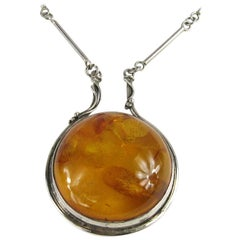 Massive Amber Sterling Silver Modernist Necklace Pendant