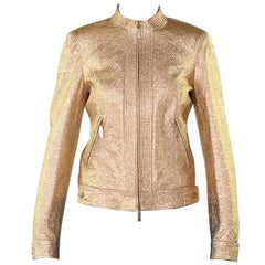 New VERSACE GOLD METALLIC TEXTURED LEATHER JACKET