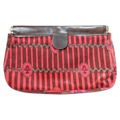 Vintage Emilio Pucci Cotton Print Brown and Pink Striped Velvet Clutch Handbag