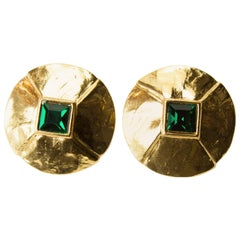 Yves Saint Laurent Pyramid shaped gold plated simulated emerald clip earrings
