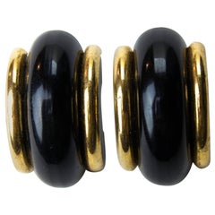 Yves Saint Laurent Chinese collection lacquered clip-on earrings, circa 1977