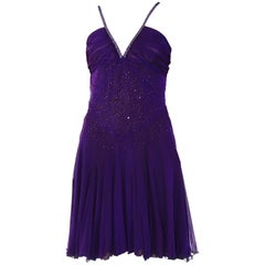 VINTAGE VERSACE CRYSTAL EMBELLISHED AMETHYST SILK DRESS with CHAIN MAIL STRAPS