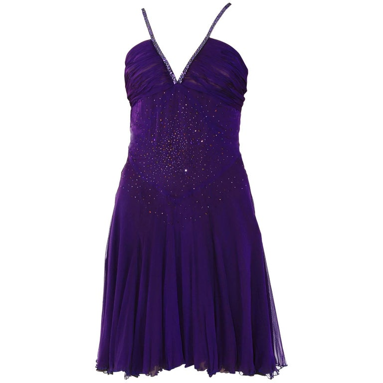 VINTAGE VERSACE CRYSTAL EMBELLISHED AMETHYST SILK DRESS with CHAIN MAIL STRAPS For Sale