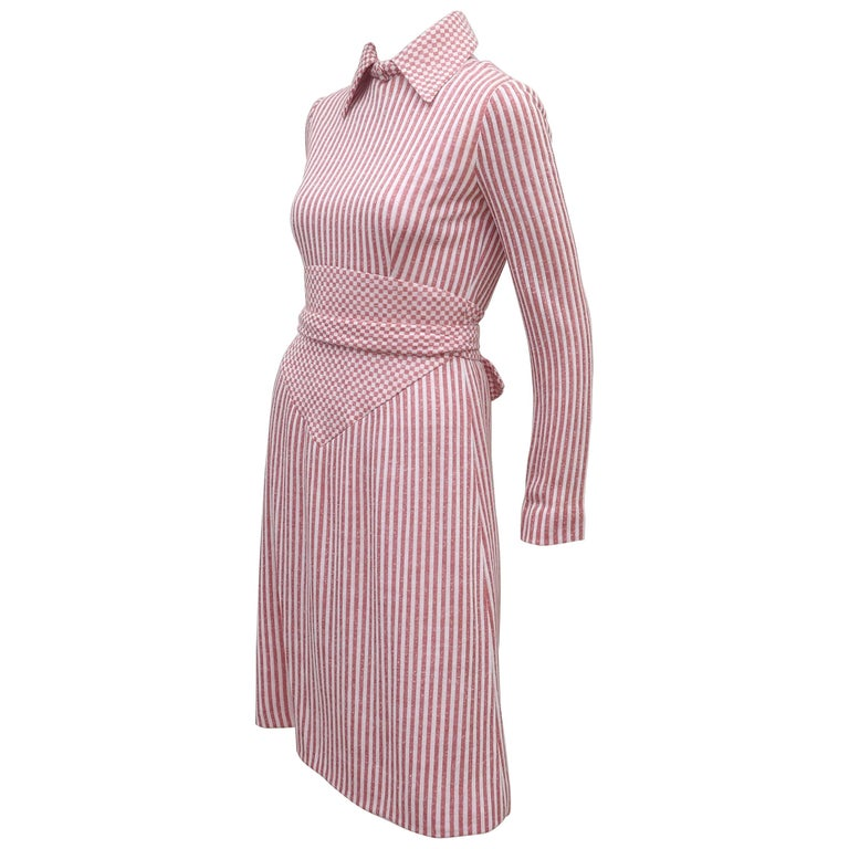 Rodrigues Striped Knit Dress With Gingham Details, 1970s
