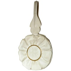 Flower Shaped Handbag in Cream Leather with Gilt Metal Accents