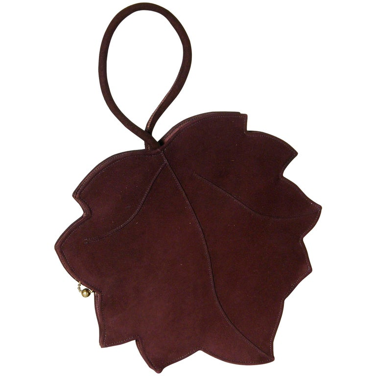 Leaf Shaped Handbag in Aubergine Colored Suede For Sale
