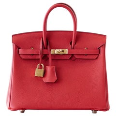Hermes Birkin Bag 25 Geranium Red Togo Gold Hardware