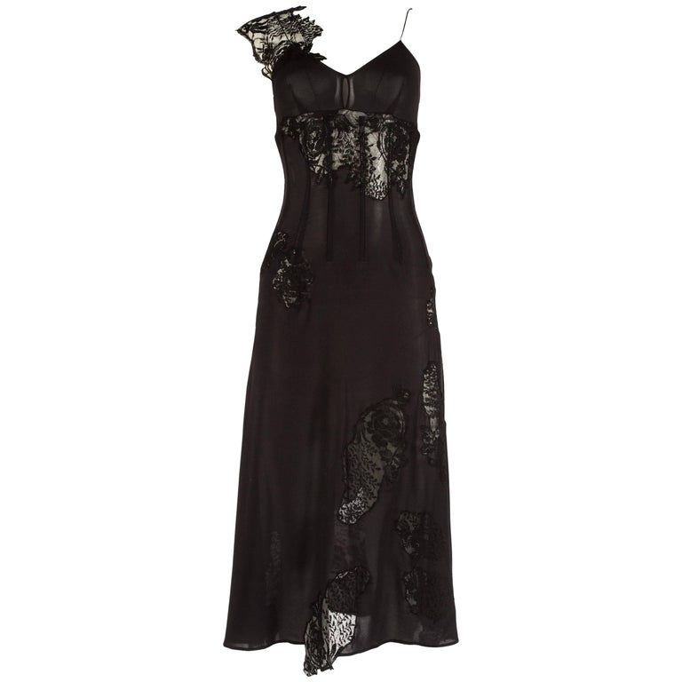 ec14fb9ff8b3 Dolce & Gabbana black lace and chiffon corset evening dress, Spring Summer  2002 For Sale