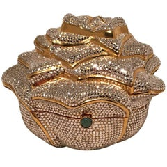 Judith Leiber Swarovski Crystal Rose Minaudiere Evening Bag