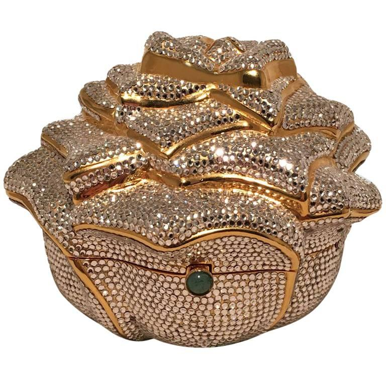 Judith Leiber Swarovski Crystal Rose Minaudiere Evening Bag For Sale