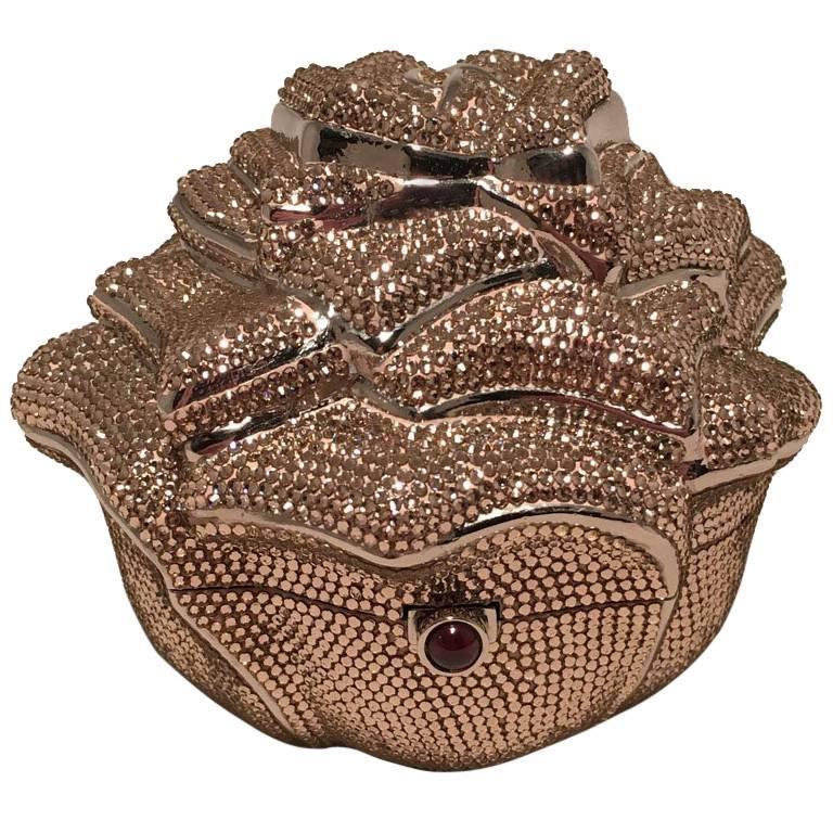 Judith Leiber Pink Swarovski Crystal Rose Minaudiere Evening Bag