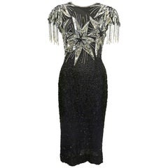 Laurence Kazar Black and Silver Sequin Stars Dress, 1980s