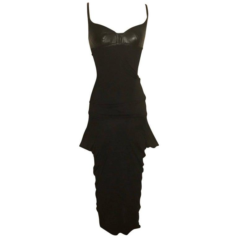 Alexander McQueen Leather Detail Black Jersey Midi Dress, 2003