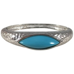Panetta Vintage Hammered Silver and Turquoise Bracelet, 1970s