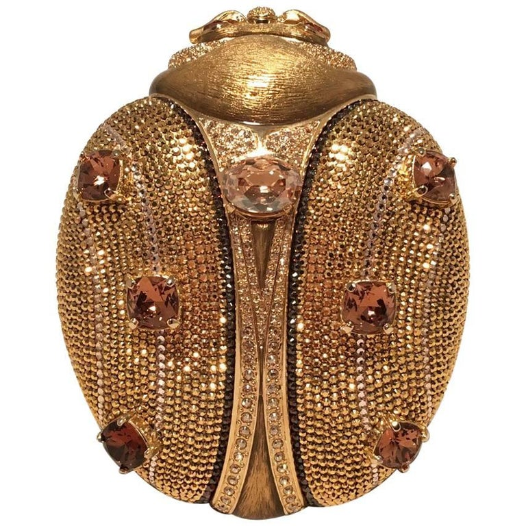 Judith Leiber 45th Anniversary Edition Crystal Gold Ladybug Minaudiere For Sale