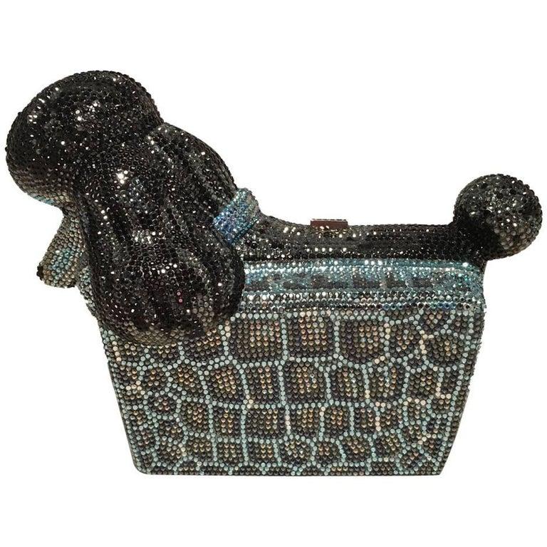 Judith Leiber Swarovski Crystal Poodle Box Minaudiere Evening Bag Wristlet