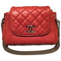 Chanel Orange Leather Chain Trim Classic Flap Shoulder Bag