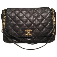 Chanel Quilted Black Distressed Leather Large Classic Flap Shoulder Bag