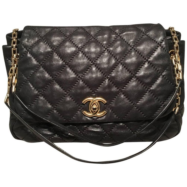 Chanel Quilted Black Distressed Leather Large Classic Flap ... : chanel quilted black handbag - Adamdwight.com