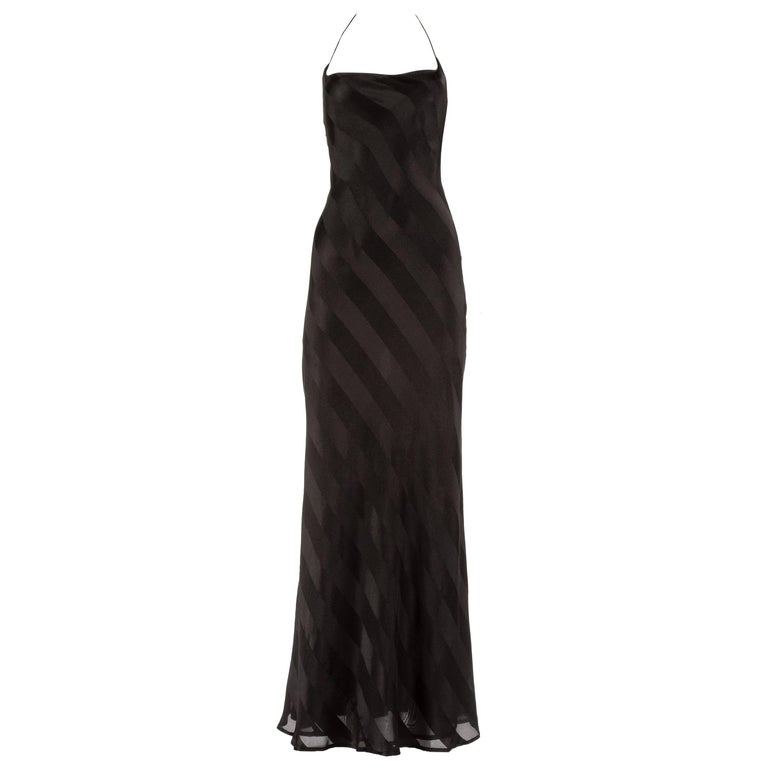 Dolce & Gabbana 1990s black rayon striped halter neck evening dress