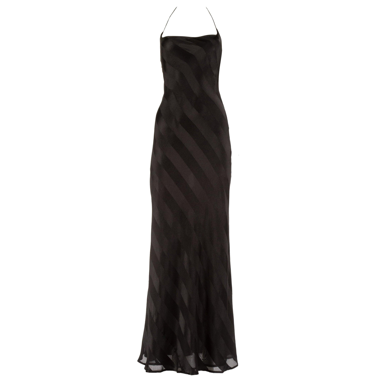 Dolce & Gabbana 1990s black rayon striped halter neck evening dress
