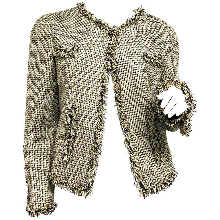 Chanel 07P Gold Black Fringe Fantasy Jacket FR 40