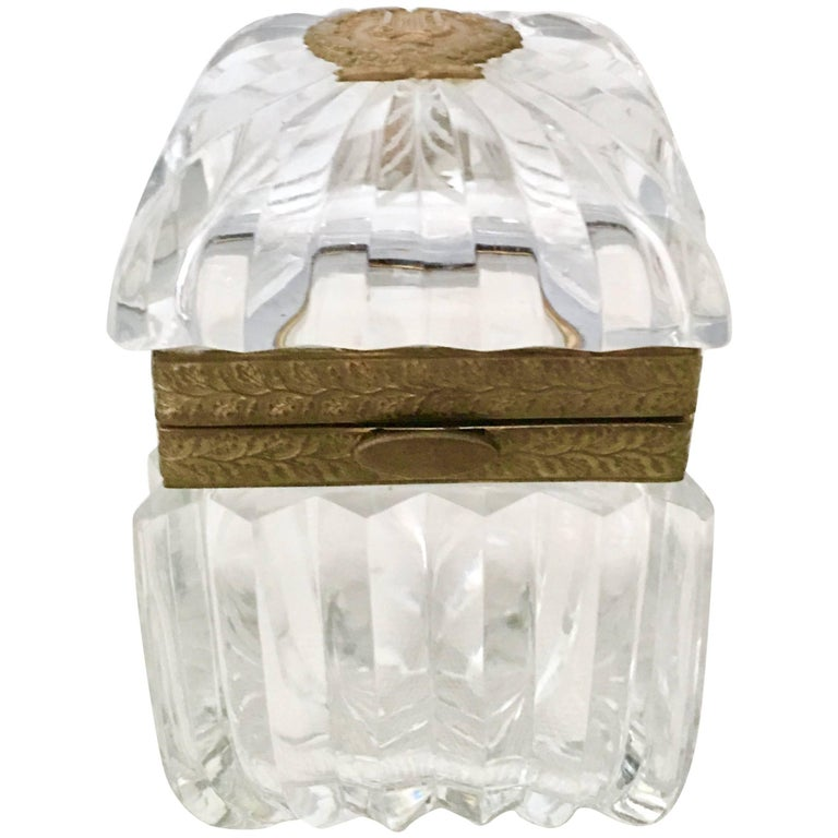 """VIntage French Cut Crystal and Bronze """"Casket"""" Box"""