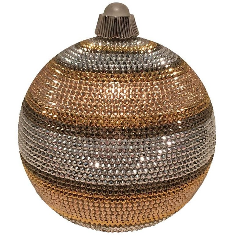 Judith Leiber Swarovski Crystal Striped Ball Minaudiere Evening Bag