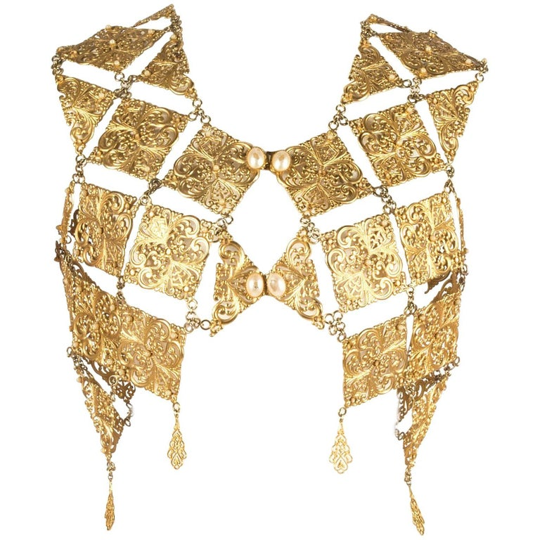 Gold metal plate evening vest, 1960s