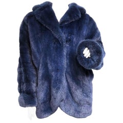 Blue Mink Fur Coat Jacket