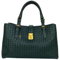 Bottega Veneta Green Intrecciato Woven Leather Roma Tote Bag