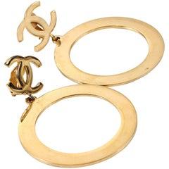 Chanel Gold CC Hoop Clip On Earrings