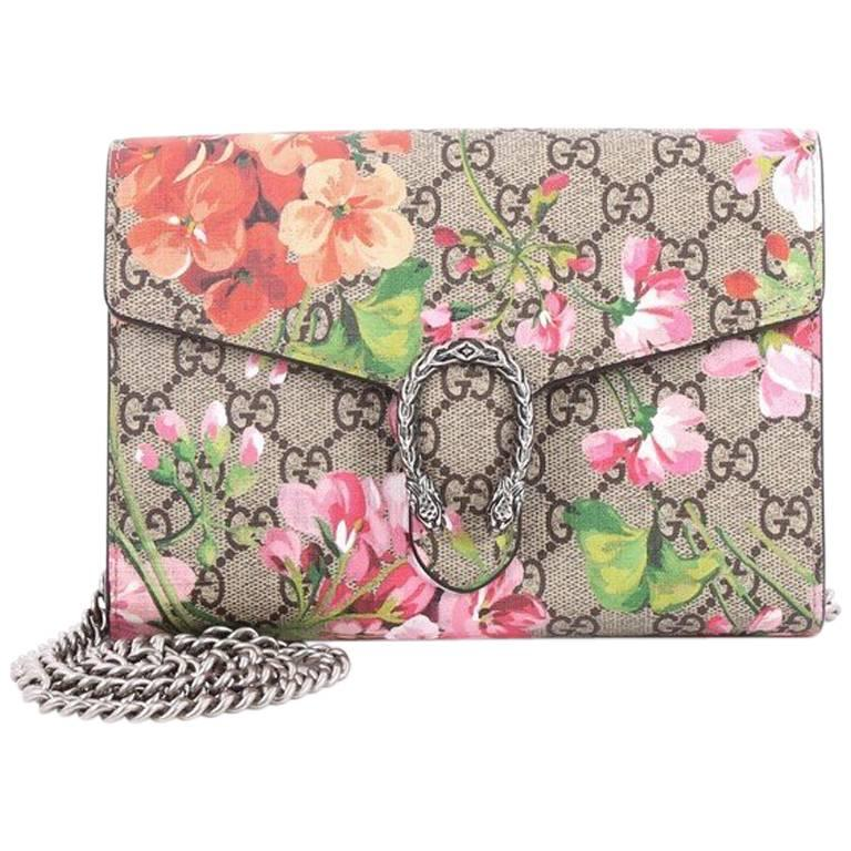 30b68e33e99 Gucci Dionysus Chain Wallet Blooms Print GG Coated Canvas Small For Sale