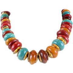 Chanel Multi Color Beaded Stone Necklace