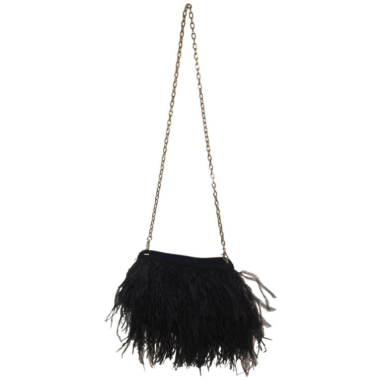 African Ostrich Feather Evening Bag