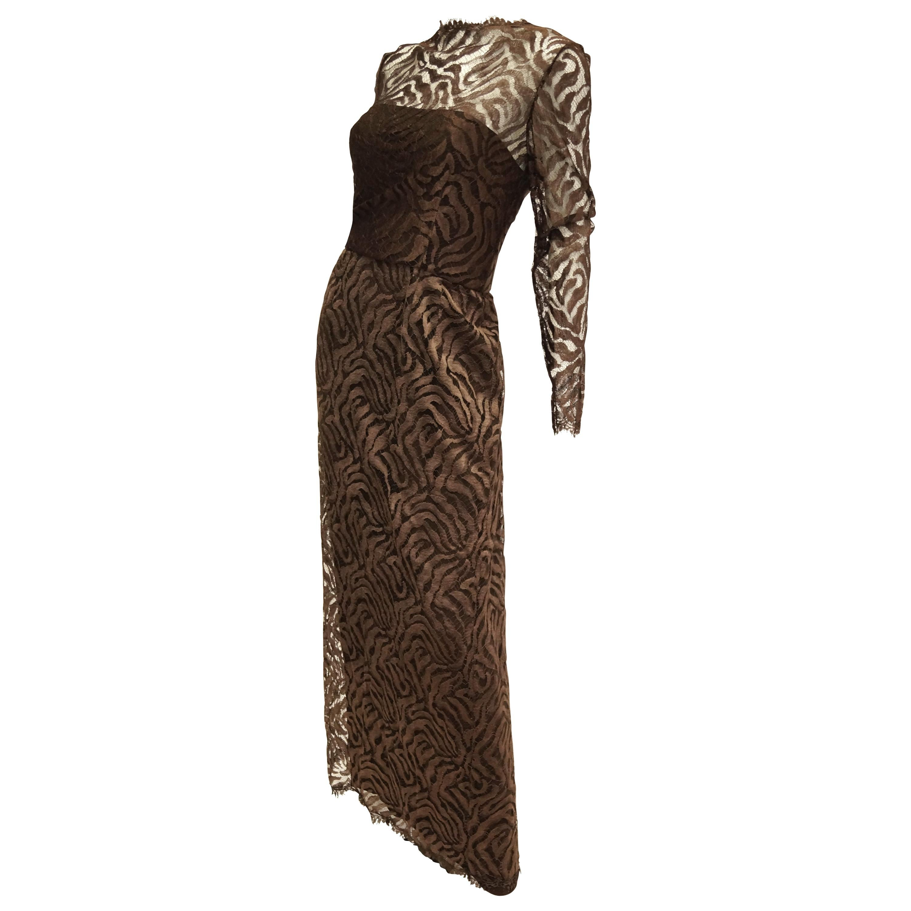 1980s Stanley Platos Martin Ross Floor Length Umber Lace Evening Dress