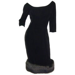 1950s Suzy Perette BlackVelvet Fox Trim Cocktail Dress