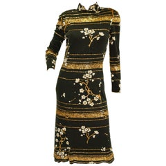 Fabulous Black and Gold Sequin Cherry Blossom Silk-Lined Dress, 1970s
